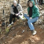 Viola and Betty collecting staurolite in Ballground, Ga 2/8/2003